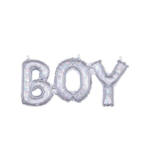 """Schriftzug-Folienballon """"Boy"""" - holographic - 50 x 22 cm"""