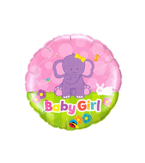 "Runder Folienballon mit Elefant ""Baby Girl"""
