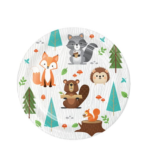 """Kleine Pappteller """"Wild One Woodland"""" - 8 Stück"""