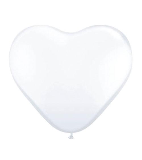 Herz-Luftballons - 30 cm - weiß - 100 Stück