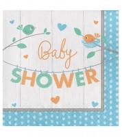 """Servietten """"Hello Baby - blau"""" - Baby Shower - 16 Stück"""