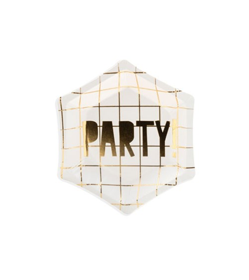 "Mini-Pappteller ""Party!"" - weiß/gold - 6 Stück"