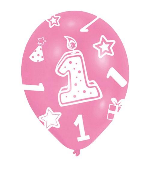 "Luftballon-Set ""1"" - rosa/pink - 6 Stück"