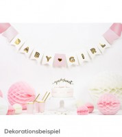 "DIY-Wimpelgirlande ""Baby Girl"" - rosa/weiß/gold - 1,75 m"