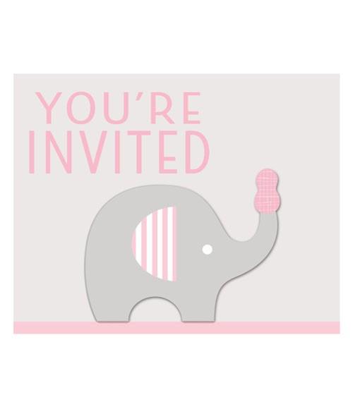 """Einladungskarten """"Kleiner Elefant - rosa"""" - 8 Stück"""