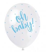 "Perlmutt-Luftballons ""Oh Baby"" - weiß/hellblau - 30 cm - 5 Stück"