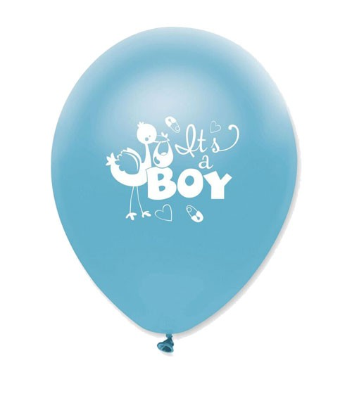 "Luftballons ""It's a Boy"" mit Storch - 6 Stück"