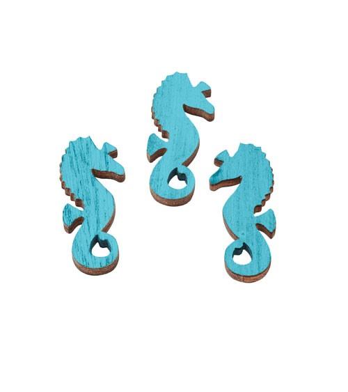 """Holzstreuteile """"Seepferdchen"""" - hellblau - 3,5 cm - 6 Stück"""