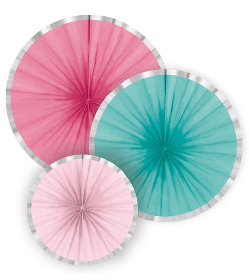 Papierfächer-Set mit Silberrand - pink/türkis/rosa - 3-teilig