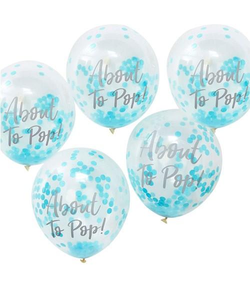 "Transparente Ballons mit blauem Konfetti ""About to Pop!"" - 5 Stück"
