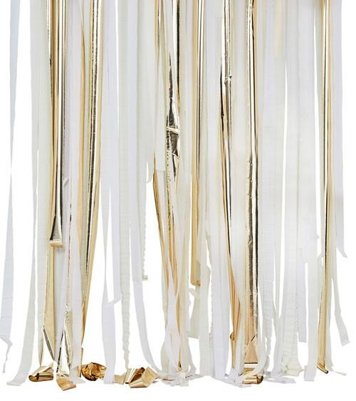 Streamer Backdrop - weiß, pastellgelb, metallic gold