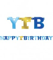 "Girlande ""Happy 1st Birthday"" - blau/gold - 2,13 m"