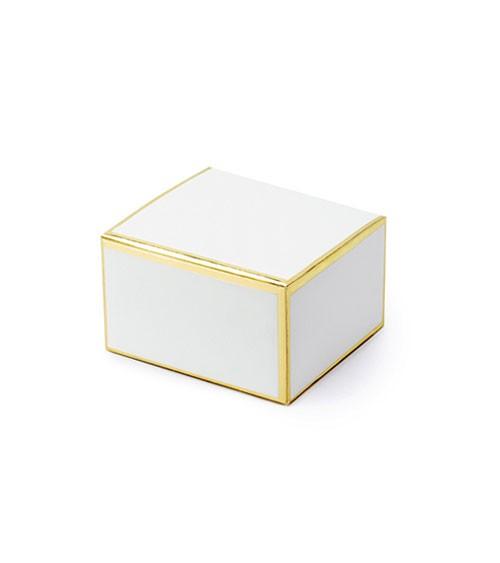 Gastgeschenkboxen mit goldenem Rand - weiß - 10 Stück