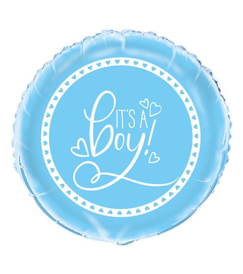 "Runder Folienballon ""Baby Shower - blau"" - 45 cm"