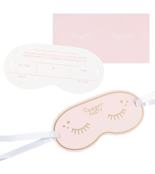 """Einladungskarten als Augenmaske """"Pamper Party"""" - 5 Stück"""