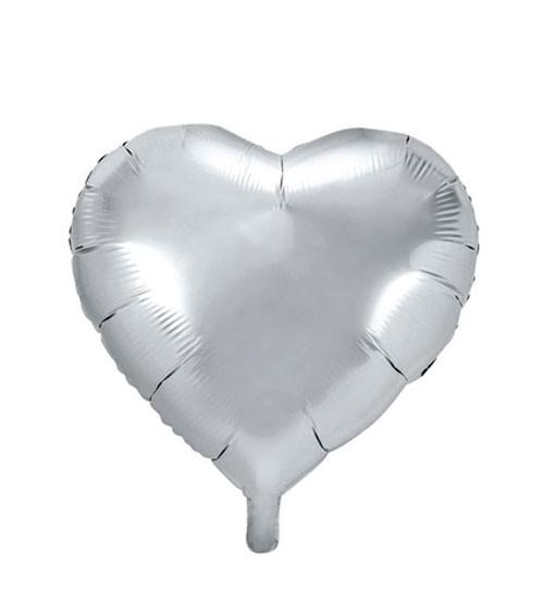 Herz-Folienballon - silber - 45 cm