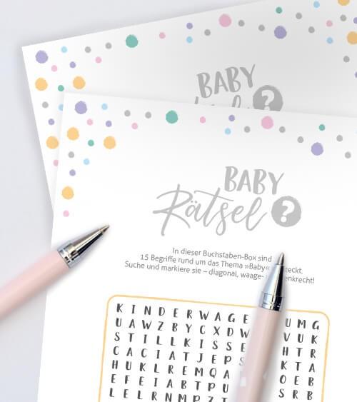 "Babyparty-Spiele-Karten ""Baby-Rätsel"" - 10 Stück"