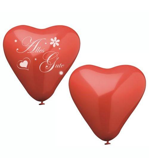 """Herz-Luftballons """"Alles Gute"""" - rot - 8 Stück"""