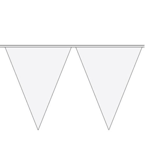 XL-Wimpelgirlande aus Kunststoff - weiß - 10 m
