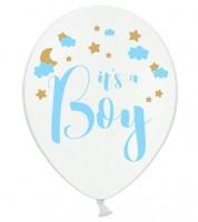 """Luftballons """"It's a Boy"""" - mit Wolken und Sternen - 6 Stück"""