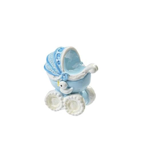 Kinderwagen aus Polyresin - hellblau - 3,5 cm