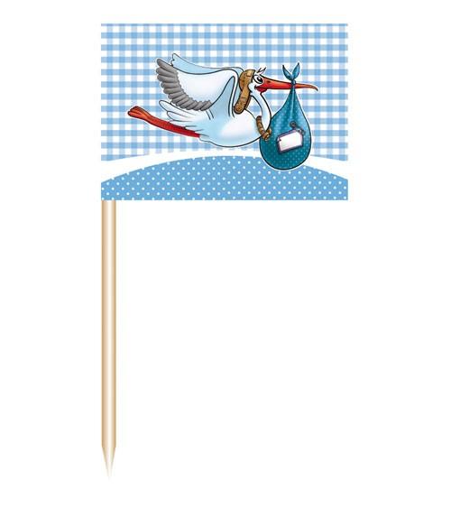 "Party-Picks ""Storch"" - blau - 50 Stück"