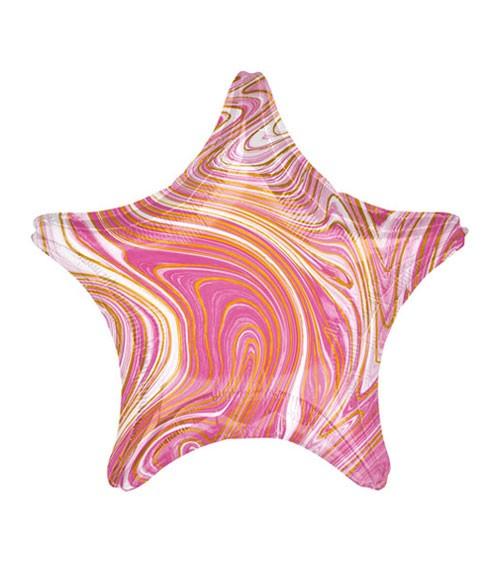 Stern-Folienballon - marmoriert - pink, gold - 48 cm