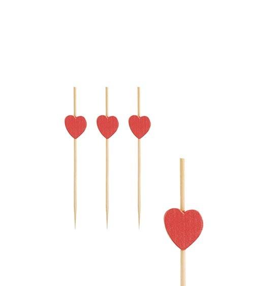 """Fingerfood-Spieße aus Bambus """"Herz"""" - 7 cm - 40 Stück"""