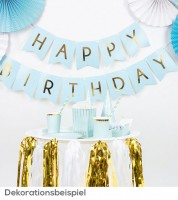 "DIY-Wimpelgirlande ""Happy Birthday"" - hellblau/gold - 1,75 m"