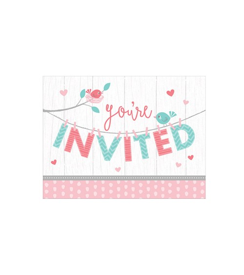 """Einladungskarten """"Hello Baby - rosa"""" - 8 Stück"""