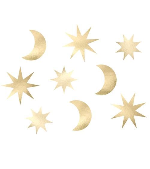 """Papierdekoration """"Sterne und Monde"""" - metallic gold - 9 Stück"""