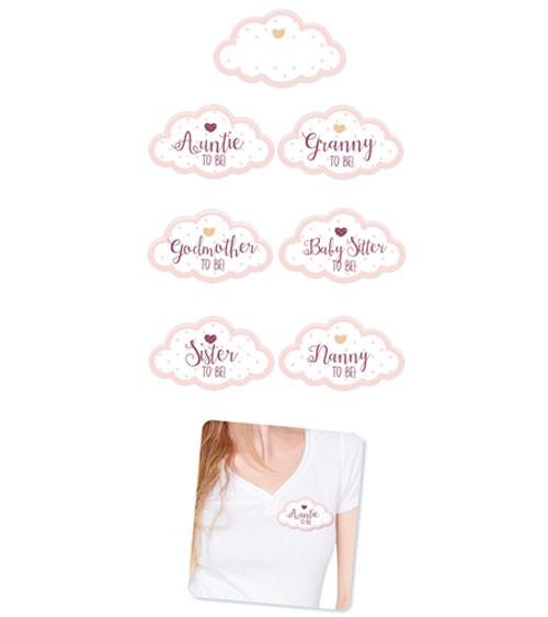 Babyparty-Gäste-Sticker in Wolken-Form - rosa - 18-teilig