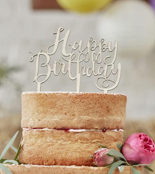 """Holz-Tortenstecker """"Happy Birthday"""""""
