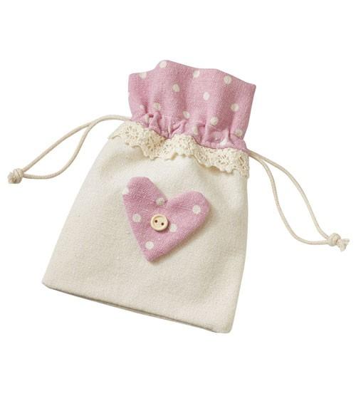 Leinen-Gastgeschenkbeutel mit rosa Herz - 3 Stück