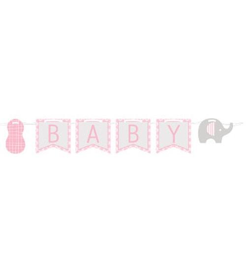 "Welcome Baby-Girlande ""Kleiner Elefant - rosa"" - 3,5 m"