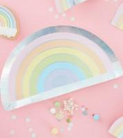 """Regenbogen-Pappteller """"Pastell Party"""" - 8 Stück"""