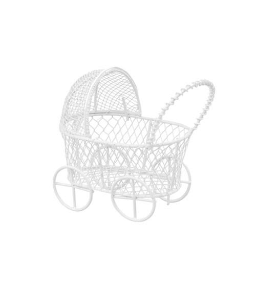 Deko-Kinderwagen aus Metall - weiß - 7 cm