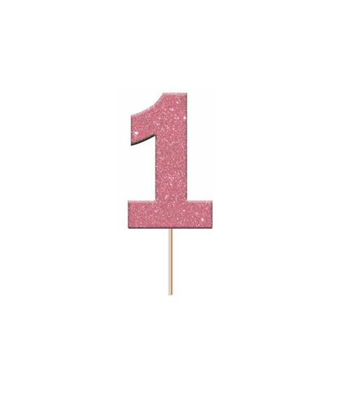 "Cupcake-Topper Zahl ""1"" - glitter pink - 12 Stück"