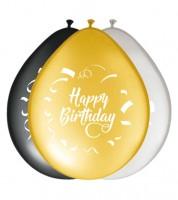 """Luftballon-Set """"Happy Birthday"""" - schwarz, gold, silber - 8 Stück"""