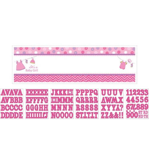 """Personalisierbarer Partybanner """"Shower With Love - Girl"""" - 165 x 51 cm"""