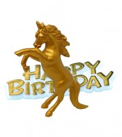 "Tortendekoration ""Einhorn"" Happy Birthday - 2-teilig"