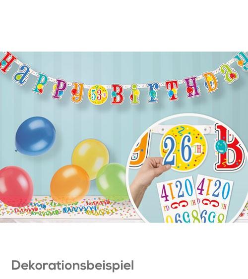 Bunte Happy-Birthday-Girlande mit Zahlen-Sticker - 2,13 m