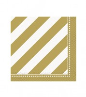 "Cocktail-Servietten ""Dots and Stripes"" - gold - 16 Stück"