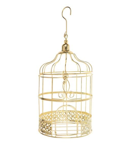 Kleiner Deko-Vogelkäfig - gold - 13 x 24 cm