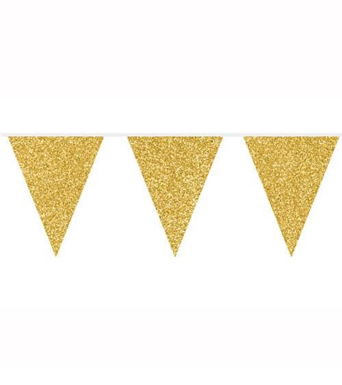 Wimpelgirlande mit Glitter - gold - 6 m