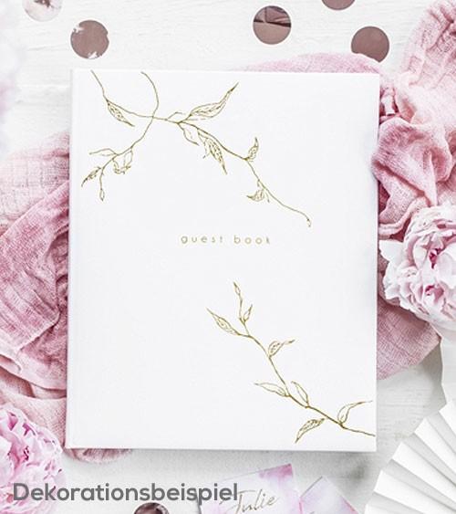 Gästebuch mit goldenen Ranken - weiß
