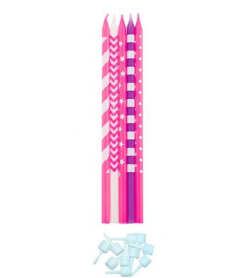Lange Kuchenkerzen - Farbmix Pink - 15,5 cm - 10 Stück