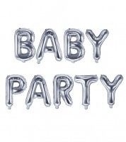 "Folienballon-Set ""BABYPARTY"" - silber - 35 cm"