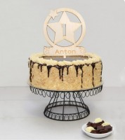"""Dein Cake-Topper """"Stern"""" aus Holz - Wunschtext"""