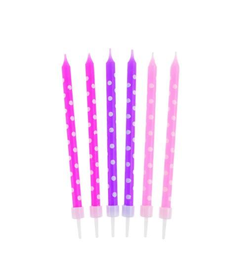 Kuchenkerzen mit Punkten - pink & lila - 10 cm - 24 Stück